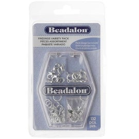 Beadalon Silver Plated Findings Variety Pack - Rings, Clasps, Tags, Crimps (132)