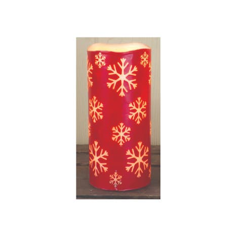 """6.75"""" Red Snowflake Battery Operated Print LED Christmas Pillar Candle with Timer"""