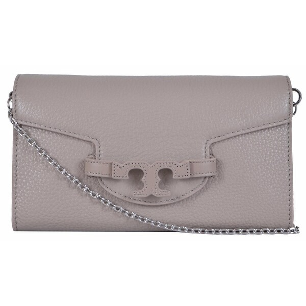04ea3843491 Shop Tory Burch Lena French Grey Leather Convertible Chain Handbag Clutch -  Free Shipping Today - Overstock - 12972103