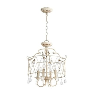 "Quorum International 2844-4 Venice 18"" Wide 4 Light Pendant or Converts to Semi-Flush Ceiling Fixture with Crystal Accents"