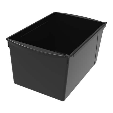 Storex Interlocking Book Bins, Double Wide, 14-1/2 x 9-1/5 x 7 Inches, Black