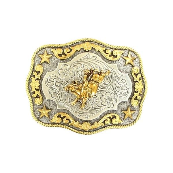"Nocona Western Belt Buckle Bull Rider Rope Stars Silver Gold - 3 3/4"" x 3"""