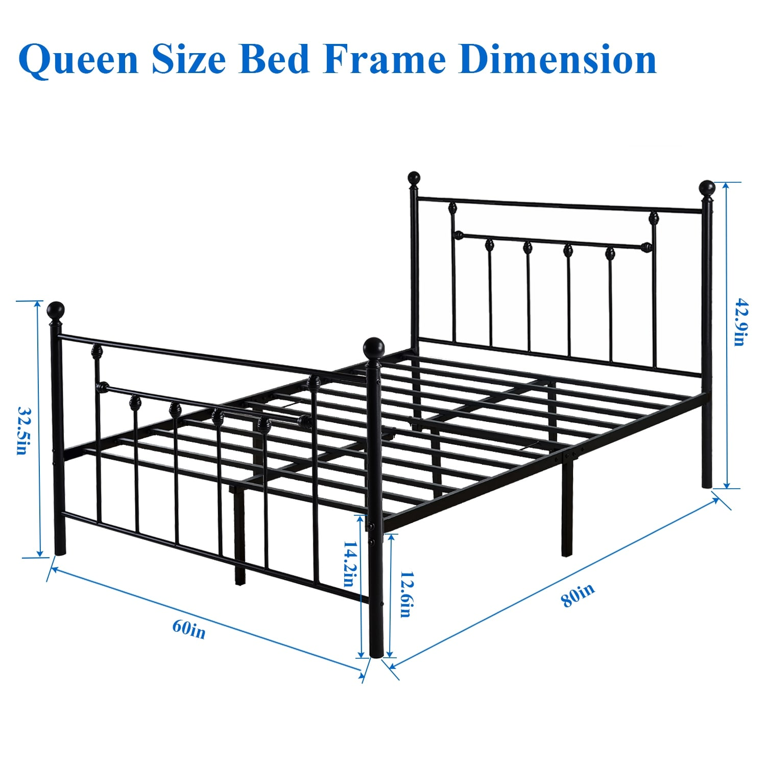 Shop VECELO Metal Beds Victorian Metal Platform Bed Frames with