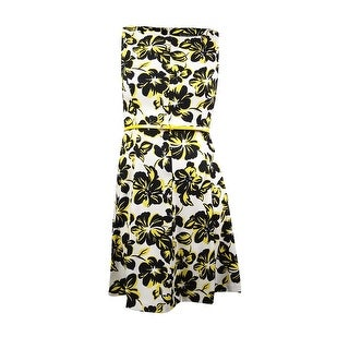Jessica Howard Women's Belted Sleeveless Floral Printed Dress - 14
