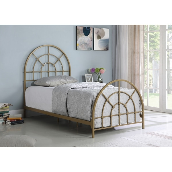 Nimona Gold Twin Metal Arched Bed. Opens flyout.