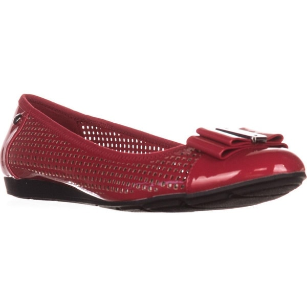shop anne klein aricia bow toe ballet flats red multi