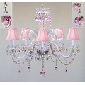 Chandelier Lighting With Crystal Pink Shades &*Hearts*H25 x W24 Perfect for Kid's Rooms - Thumbnail 0