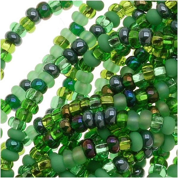 Czech Seed Beads 11/0 Mix Lot Irish Green Emerald