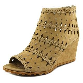 Via Spiga Latanya Women Open Toe Suede Brown Wedge Sandal
