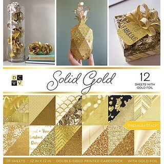 "Solid Gold W/Gold Foil - DCWV Double-Sided Paper Stack 12""X12"" 36/Pkg"