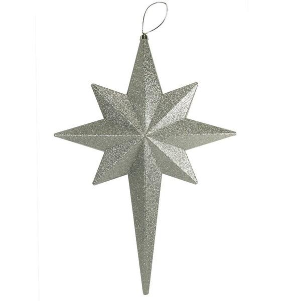 """20"""" Silver Splendor Glittered Bethlehem Star Shatterproof Christmas Ornament"""