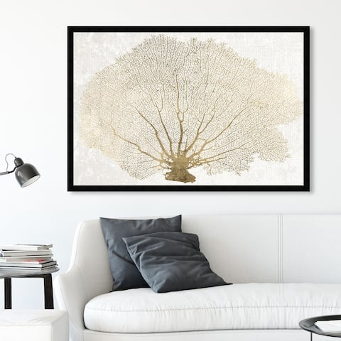 Oliver Gal 'Gold Coral Fan' Nautical and Coastal Framed Wall Art Prints Marine Life - Gold, White