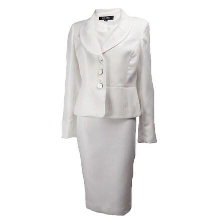 Kasper Women's Moon Dance Waffle Woven Jacket Dress Set - Off white - 4