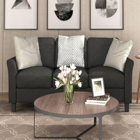 3-Seat Sofa Living Room Linen Fabric Sofa (Silver Gray,Black,Grey)