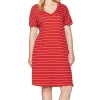 Junarose Red Womens UK 22/24 US 2X Plus Striped V-Neck Sheath Dress