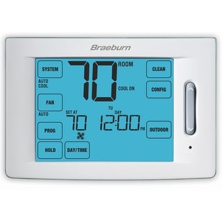 "Braeburn 6100  Touchscreen 5/2 Programmable Hybrid Thermostat with 12"" Square"" Area Display - White"