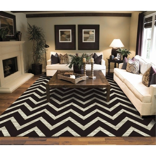 Copper Grove Raahe Black Cream and Brown Chevron Area Rug. Opens flyout.