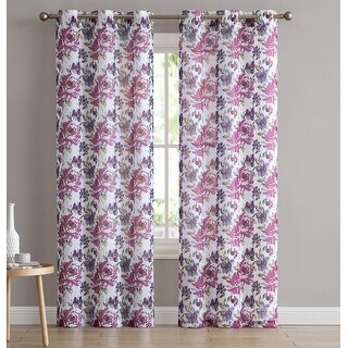 Rosie 2-Pack Floral Printed Sheer Grommet Panels, 76x84 Inches - 76 x 84