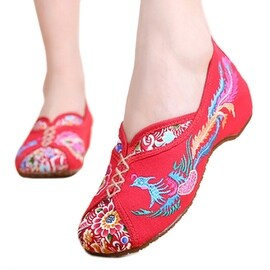 Women fashion Casual Shoes BalletCloth Embroidered Shoes Colorful Phoenix red 34