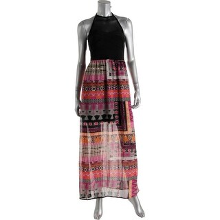 Crystal Doll Womens Juniors Maxi Dress HALTER Printed