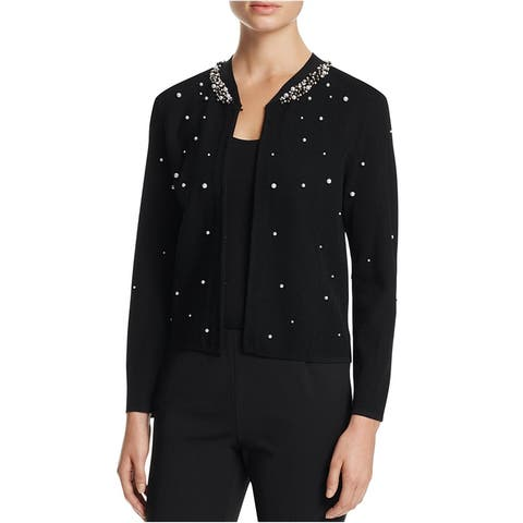 Finity Womens Solid Embellished Cardigan Sweater, Black, Large