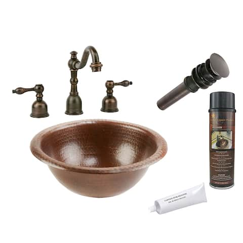 Premier Copper Products BSP2_LR12RDB Bathroom Sink, Widespread Faucet and Accessories Package