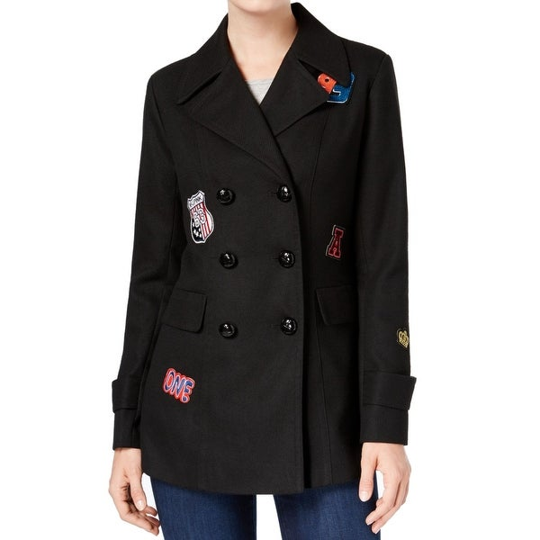 BCX Junior Double-Breasted Notch Collar Patched Peacoat