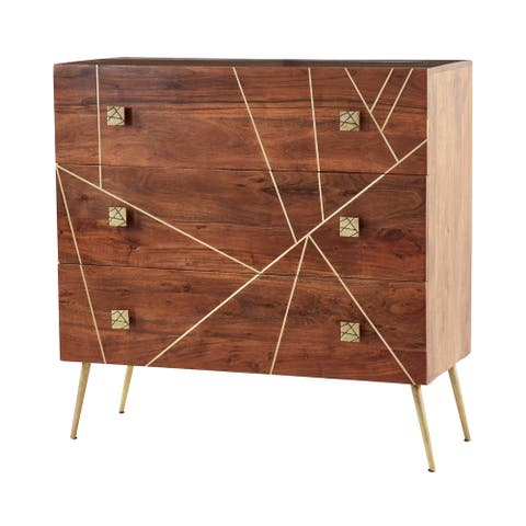 "Rectangular Wood Dresser With Gold Metal Abstract Patterned Inlay And Base 36"" X 36"" - 36 x 16 x 36"