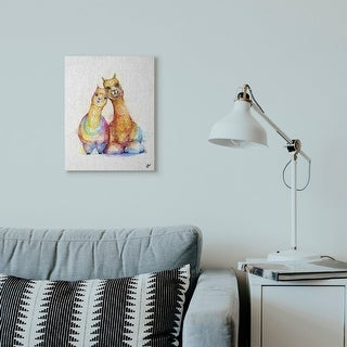 Stupell Industries Cute Colorful Llama Family Animal Watercolor Painting Canvas Wall Art, Proudly Made in USA