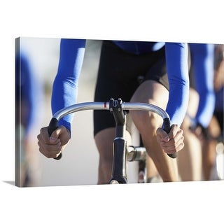 """""""Cyclists on bikes, mid section"""" Canvas Wall Art"""