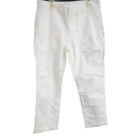 Time and Tru Cargo Twill Crop Pant, White , 10