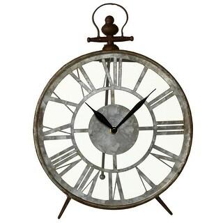 Set of 2 Rustic Brown and Galvanized Finish Decorative Round Desk Clock 13