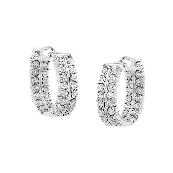 1/5 ct Diamond Hoop Earrings in Sterling Silver