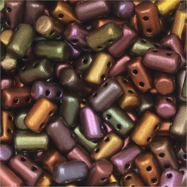 Czech Glass Matubo, Cylindrical 2-Hole Rulla Beads 3x5mm, 22 Gram Tube, Crystal Violet Rainbow