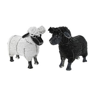Pair of Beadworx White and Black Glass Beaded Sheep Sculptures - Multicolored