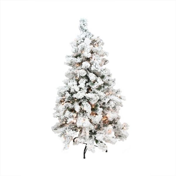 7.5' Pre-Lit Heavily Flocked Medium Pine Artificial Christmas Tree - Clear Lights - green