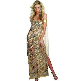 Sexy Golden Greek Goddess Sequin Dress Costume Adult Large 10-14,Medium 6-10,Small 2-6,X-Large 14-16