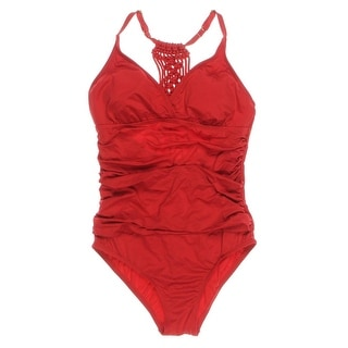 Jantzen Womens Macrame Tummy Control One-Piece Swimsuit