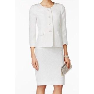 Le Suit NEW White Textured Jacquard Women's Size 18 Skirt Suit Set
