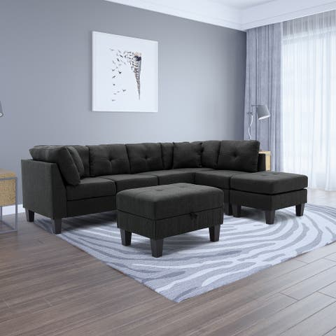 Reversible Storage Sofa & Chaise With Ottoman