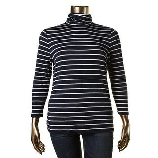 Ralph Lauren Womens Pullover Top Striped Turtleneck
