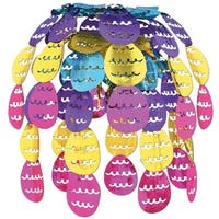 """Pack of 12 Hanging Metallic Easter Egg Cascade Party Decorations 24"""" - Pink"""