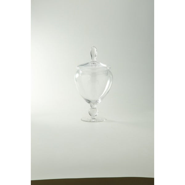 "8.5"" Crystal Clear Hand Blown Glass Jar with Finial Lid - N/A"