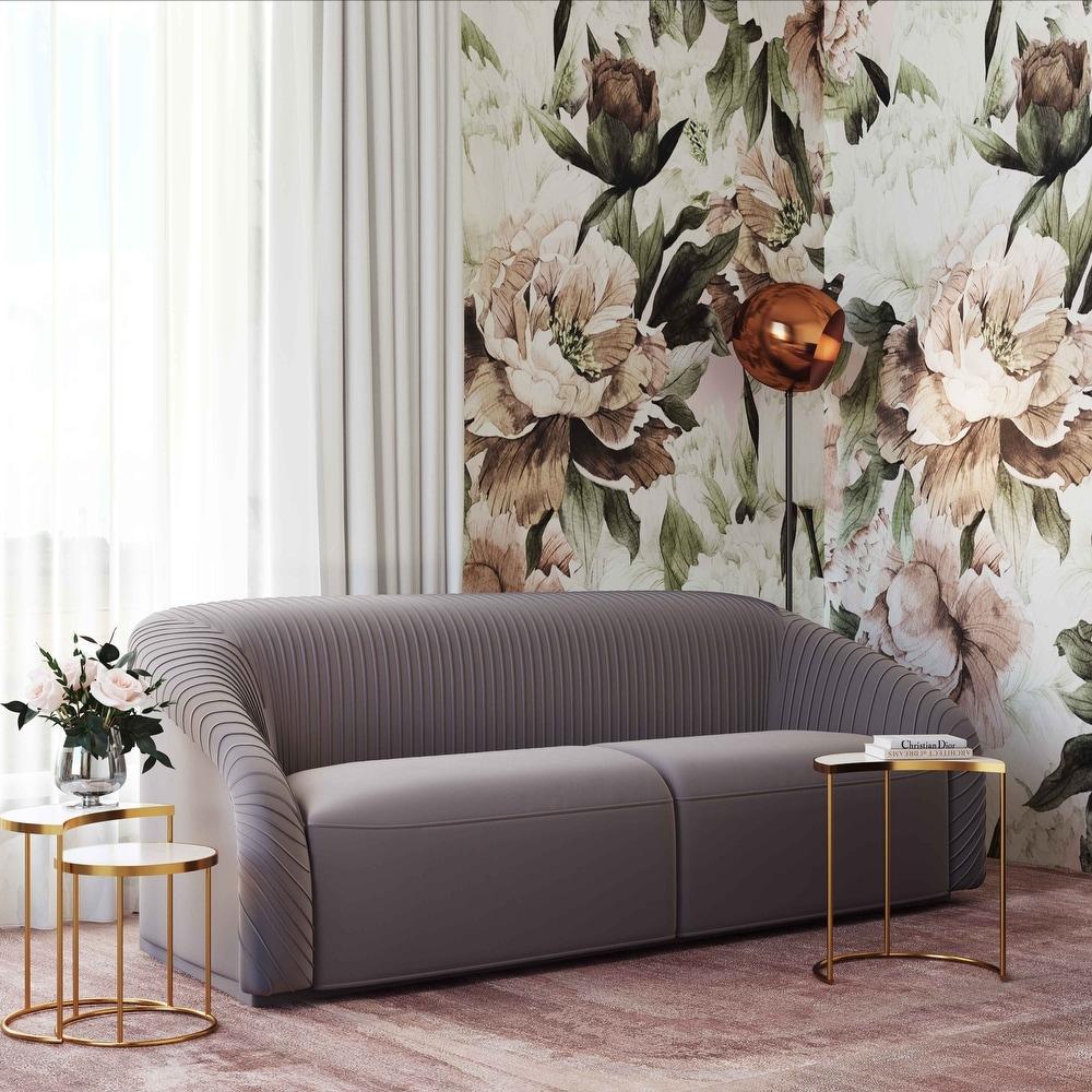 Yara Pleated Grey Velvet Sofa by Inspire Me Home Decor (Grey) -  TOV Furniture, TOV-S6456