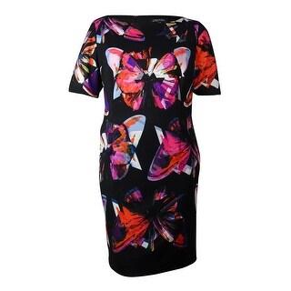 Tahari Women's Scuba Print Dress - black/magenta/orange