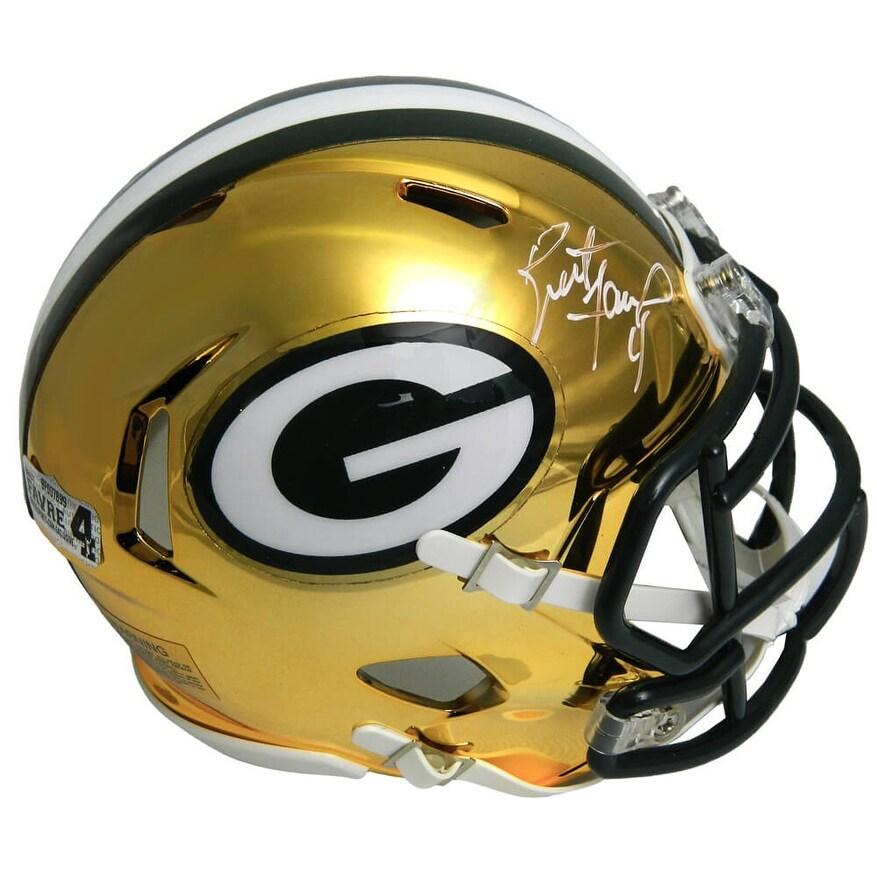Shop Brett Favre Green Bay Packers Chrome Riddell Mini Helmet Black 5 X 8 Overstock 27279343