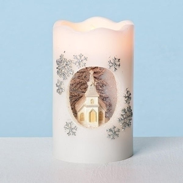 "5"" Ivory White LED Lighted Glittered Church Christmas Pillar Candle Table Topper. Opens flyout."
