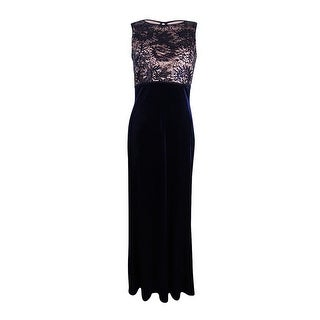 Nightway Women's Sequined Lace Velvet Gown