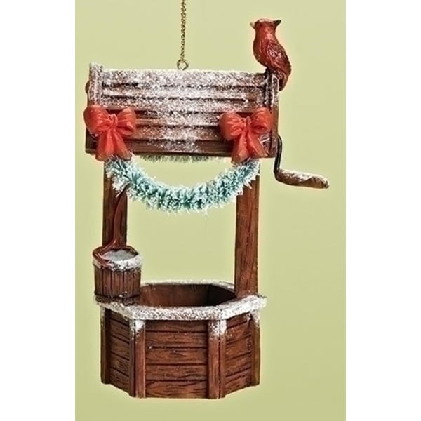 """4"""" Magical Wishing Well with Red Cardinal Decorative Christmas Ornament"""