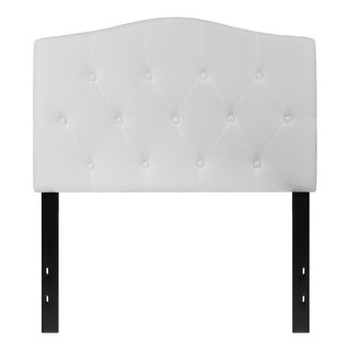 Offex Button Tufted Upholstered Twin Size Panel Headboard in White Fabric